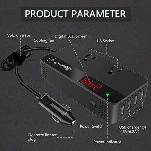 200W Power Inverter DC 12V to 110V AC Car Converter 2 AC Outlets 4 USB Ports Charger Adapter DC to AC Inverter with Digital Display