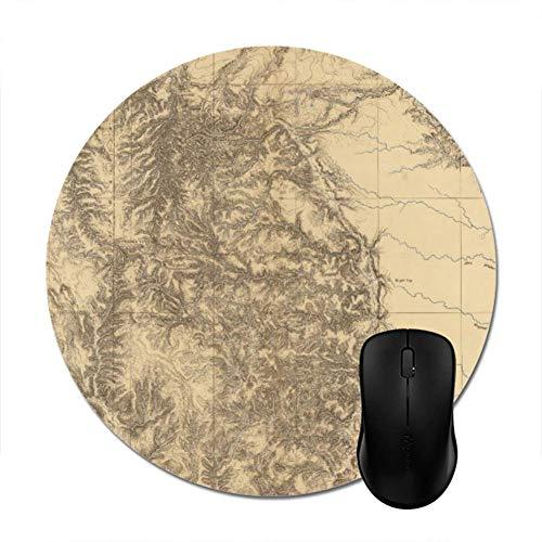 yyndw Mouse Pad Mapa De The Black Hills of Dakota Redondo: 20 Cm De Trabajo Accesorio Alfombrilla De Ratón De Oficina Alfombrilla De Ratón Personalizada Teclado Computadora Mesa De Juego