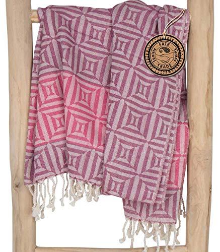 ZusenZomer Fouta Hamamtuch XXL Damen Square 100x200 Rosa – Hamam Badetuch Strandtuch Sauna Tuch 100% Baumwolle - Fair Trade Handgewebten Hammam Tücher