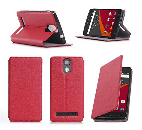 XEPTIO Wileyfox Storm 4G Dual SIM Tasche Leder Hülle rot Cover mit Stand - Zubehör Etui Wileyfox Storm 4G Flip Case Schutzhülle (PU Leder, Handytasche Red) Accessories