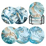Best Coasters - Coasters for Drinks with Holder Set of 6,Marble Review