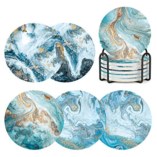 Coasters for Drinks with Holder Set of 6,Marble Blue Ocean Style Absorbent Ceramic Coasters with Cork Base,No Scratched and Soiled