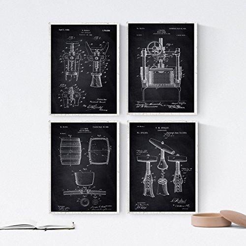 Nacnic Negro - Pack de 4 Láminas con Patentes de Vino. Set de Posters con inventos y Patentes Antiguas. Elije el Color Que Más te guste. Impreso en Papel de 250 Gramos de Alta Calidad