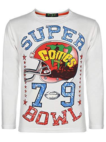 Kinder Jungen Pullover Langarm-Shirt Pulli Sweater Motiv Druck Rundhals 30123 Weiß 122 bis 128