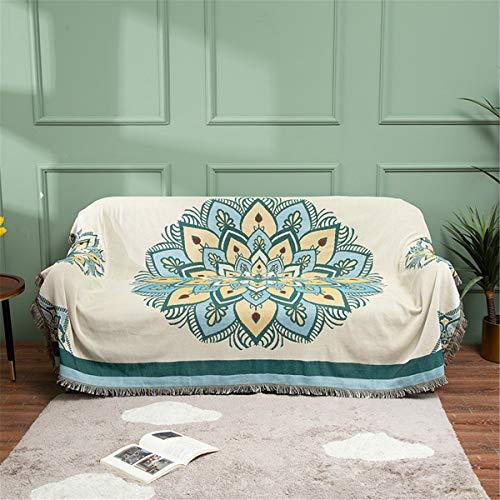 Manta de tejido de punto étnico nórdico, reversible ligero y suave y acogedor manta tejida decorativa con borlas para viajar, sofá, cama, sofá,130 * 160cm