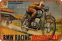 BMW RACING MOTORCYCLE08さびた錫のサインヴィンテージアルミニウムプラークアートポスター装飾面白い鉄の絵の個性安全標識警告アニメゲームフィルムバースクールカフェ40cm*30