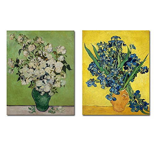 Wieco Art Irises in Vase Floral Canvas Prints Wall Art by Van Gogh Classic Artwork Famous Oil Paintings Reproduction on Canvas for Bedroom Home Decor 2 Piece Modern Wrapped Giclee Flowers Pictures
