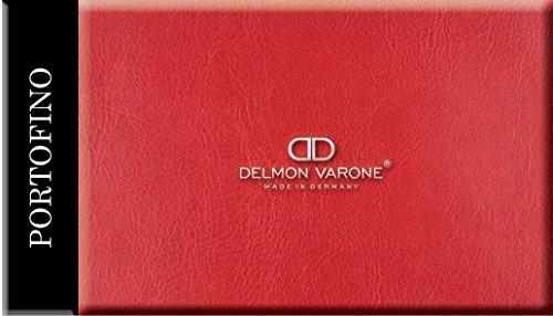 DELMON VARONE - Wandpaneele Kunstleder 40 x 20 cm selbstklebend & gepolstert in Portofino rot - Paneel als elegante Wanddekoration für Wohnzimmer, Schlafzimmer & Esszimmer - Edle Deko Wandverkleidung