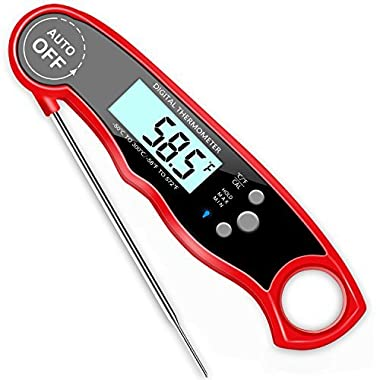 GDEALER DT09 Waterproof Digital Meat Super Fast Instant Read BBQ Calibration and Backit Function Cooking Thermometer for F, 165.52.2 Centimeters, Red