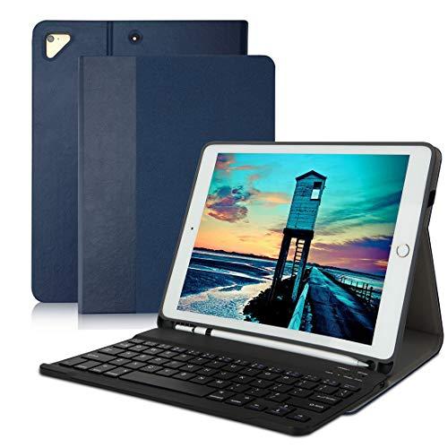 iPad9.7Keyboard Casewith Pencil Holder for iPad 2018 (6th Gen), iPad 2017 (5th Gen), iPad Pro 9.7, iPad Air 2/1-iPad Wireless Bluetooth Keyboard - Auto Sleep/WakeBlue