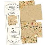 Flora-Natura Briefpapier Set Vintage Blumen 25 Sets DIN A4 90 g/qm, mit Umschlag - nachhaltig gedruckt