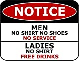Vivityobert Señal de metal de aluminio de 20 x 30 cm de Notice Men No Shirt No...