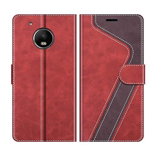 MOBESV Custodia Motorola Moto G5 Plus, Cover a Libro Motorola Moto G5 Plus, Custodia in Pelle Motorola Moto G5 Plus Magnetica Cover per Motorola Moto G5 Plus, Rosso