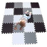 MQIAOHAM 18 pcs krabbeldecke wasserdicht teppich kinder matte für baby puzzle boden matten play gym puzzlematten spielmatten schaum puzzlematte kleinkind schaumstoff white black grey 101104112