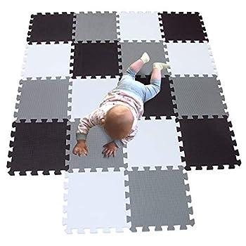 MQIAOHAM playmat Foam Play Tiles Interlocking Play mat Baby Play mats for Kids Floor mats for Children Foam playmats Jigsaw mat Baby Puzzle mat 18 Pieces Children Rug Crawl White Black Grey 101104112