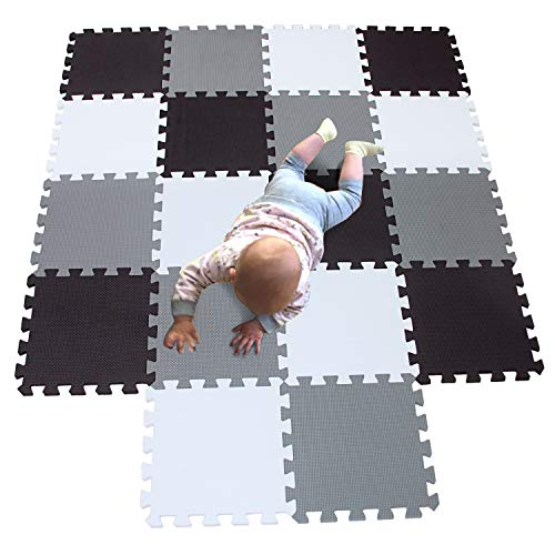 MQIAOHAM playmat Foam Play Tiles Interlocking Play mat Baby Play mats for Kids Floor mats for Children Foam playmats Jigsaw mat Baby Puzzle mat 18 Pieces Children Rug Crawl White Black Grey 101104112