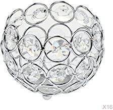 MagiDeal 16 Pieces Votive Tea Light Candle Holders Silver/Gold Crystal Beads Candlestick Wedding Table Centerpieces Home O...