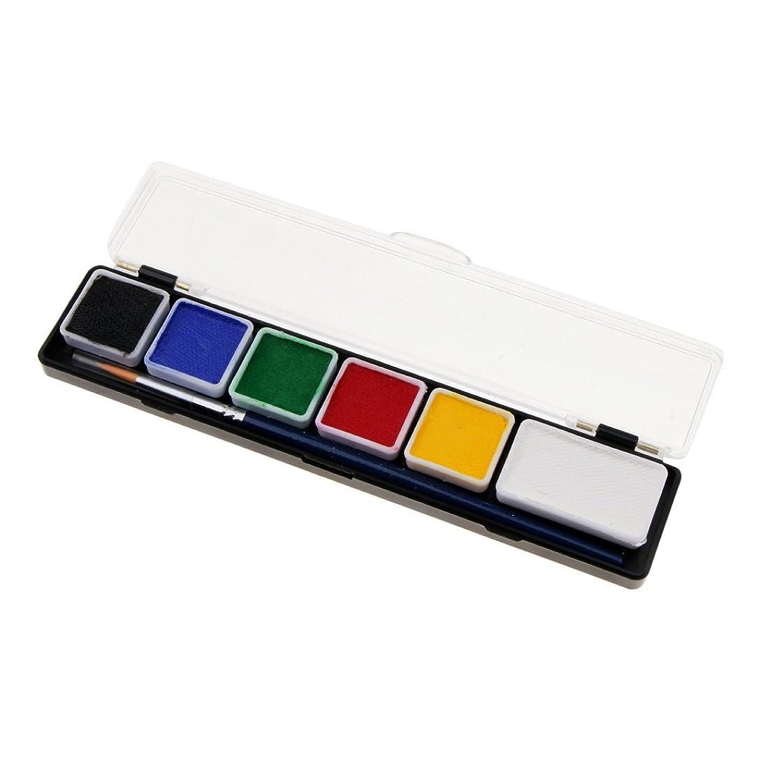 極端なファセット等価B Blesiya フェイスペイントパレット ボディーペイント カラーメイク 化粧ブラシ 絵画 パーティー 盛り上げ 6スタイル選べ - RT005A