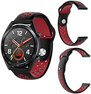 SKEIDO Black red Silicone Replacement Strap Band for Huawei Magic/Watch GT/Ticwatch Pro
