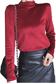 HEFASDM Women Fitted Mock Neck Blouse Velvet Long Sleeve Solid Colored T-Shirt