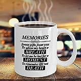 Taza con texto en inglés 'My Husband in Heaven', 'Memories are Sweet', 'Memories are Sweet', 'Memories are Sweet', 'Memories', 'Memories',