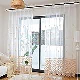 Floral Bestickt Sheer Voile Vorhang 1 Pc,Jacquard Schiebegardinen Fenster Drapiert Fenster Dekor Valances Vorhänge Für Balkon-c 200x260cm(79x102inch)