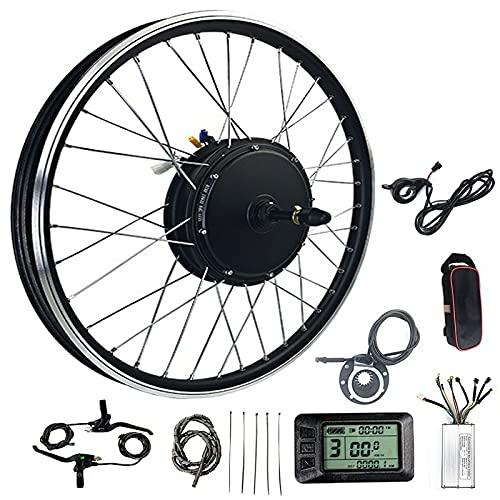 JINGJIN Kit de conversión de Bicicleta, Kit de conversión 48V 1000W/1500W 20'/24'/26'/27.5'/28'/29'/700C Rueda Delantera con LCD, Kit de conversión para Bicicleta,1500W-27.5INCH