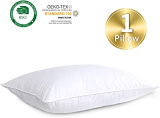 HOMBYS Goose Feather Down Soft Bed Pillows Insert for Sleeping,Queen Size,Medium Support,100% Cotton Down Proof Cover(White,1 Pack)