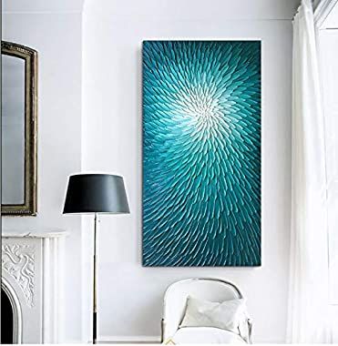 Amei Art Paintings, 24X48Inch Hand Painted Textured Wall Art on Canvas Oil Hand Painting Blooming Floral Artwork Art Wood Ins