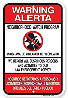 Vintage Art Poster Plaque,Warning-Alerta Bilingual Neighborhood Watch Funny Yard Decorative s for Outdoors Home Metal Wall SafetyEngineer Intensity Grade Prismatic ReflectivePerfect Wall Decoration