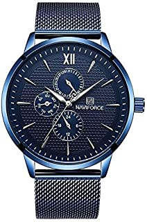 ساعة نافي فورس رياضية للرجال بسوار من المعدن 3003 - ازرق