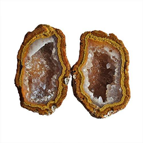 Par de piedras preciosas de ágata pequeñas, tamaño 25 x 15 x 8,5 mm, tamaño de joyería para bebé, mini geoda Druzy AG-10448