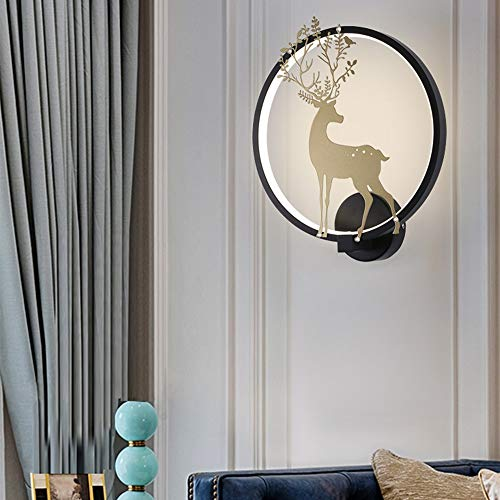 Lámpara de pared LED Tipo de pared arandela de la pared, pared En forma de ciervo Atenuación mural de la pared de la lámpara Por escalera Balcón Restaurante Dormitorio (Color : Black)