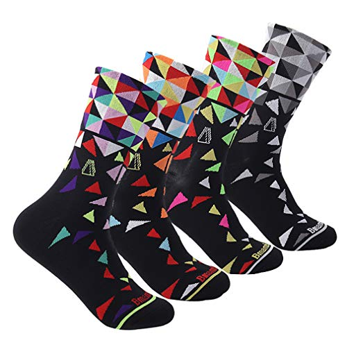 Compressprint Men and Women Cycling Socks 4 Pairs Sports Socks Comprssion Running Socks (Mixed Color) (Mixed Color) …