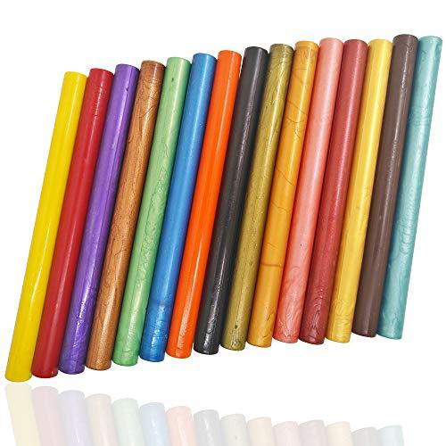 AFUNTA 15 barras de cera de sellado para pistola de pegamento, flexibles, para invitaciones de boda y sobres de tarjetas – 15 colores