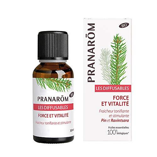 Pranarôm Parfum d'ambiance Bio, Force Et Vitalité, Huiles Essentielles pour Diffusion, Pin et Ravintsara, Fraicheur tonifiante et stimulante, 30 ml