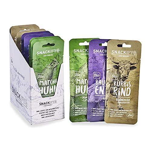 SNACKIFY 12er-Mix-Box (12 x 28 g Snack Box), die Bio Riegel mit Fleisch direkt vom Bauernhof. Keto, Low Carb, Paleo, glutenfrei, ohne Zusatzstoffe. Fitness Protein Snack Alternative zu Beef Jerky.