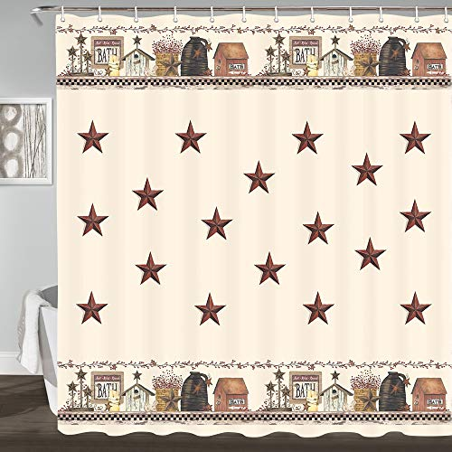 Rustic Country Star Shower Curtains, Primitive Relax Bath Outhouse Christmas Farmhouse Shower Curtain for Bathroom Decor Polyester Fabric Bath Curtain and Hooks Waterproof 69x70inches