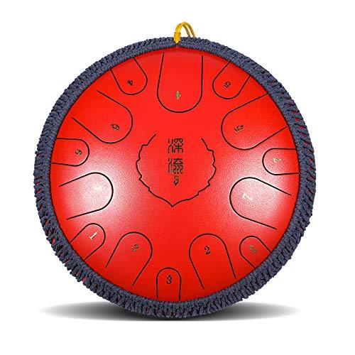 15 notas Tambor de la lengua de acero, instrumento de percusión de tambores armónicos armónicos de 14 pulgadas con bolsa de viaje mazo, regalo de música para meditación, yoga y zen (Color : Red)