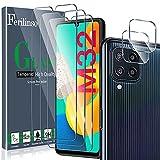 Ferilinso Protector de Pantalla Diseñado para Samsung Galaxy M32 4G, 3 Piezas HD Cristal Templado con 2 Piezas Protector de Lente de cámara, Funda Amistoso, Dureza 9H, Sin Burbujas