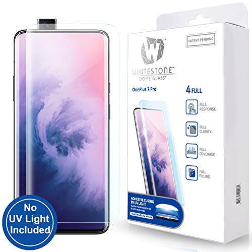 Tempered Glass Screen Protector for OnePlus 7T Pro 5G and 7 Pro [Dome Glass] 3D Exclusive Solution for Full Coverage Protection, Easy Replacement Kit by Whitestone for 7T Pro and 7 Pro Models - No UV Lamp