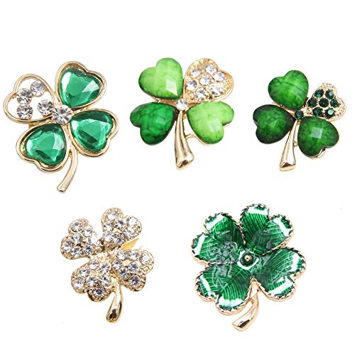 Unigift 5 Pcs Four Leaf Brooch Pins Jewelry Alloy Crystal Rhinestone Lucky Clover Breastpin Lapel Pin for Women Girls Clothes Collar Dress Scarf Decoration