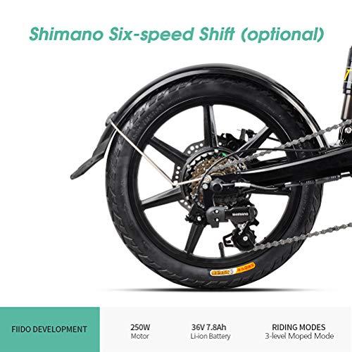 KENANLAN Bicicleta eléctrica Plegable, FIIDO D2S Ebike Neumáticos de 16 Pulgadas Motor de 250 W 25KM/H Bicicleta de montaña eléctrica de 6 velocidades Bicicleta eléctrica de Cambio, Gris