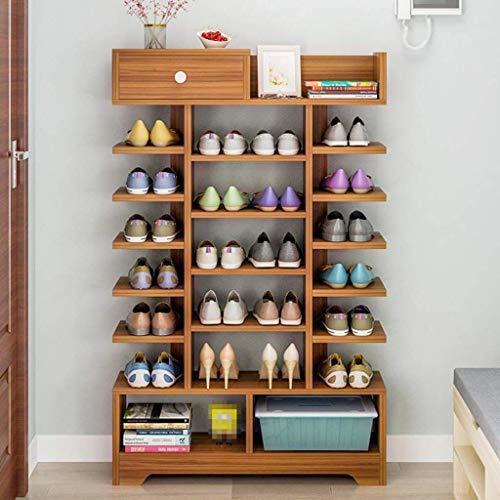 NSYNSY Zapatero para Muebles, 8 Niveles Conjunto de hogar apilable Armario para Zapatos Puerta de Dormitorio de Madera Multicapa Zapatero pequeño Caja de Zapatos (Color: C)
