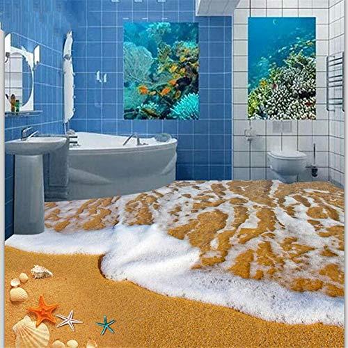 ZJfong vloerbedekking 3D mooi zicht op zee strand zeesterschelp bodem in drie maten slaapkamer woonkamer vloerbedekking 250 x 175 cm.