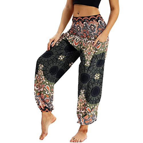 Nuofengkudu Damen Hippie Haremshose Capri Thai Hose Leichte mit Taschen Dünn Boho Ethno Blumenmuster Muster Strand Sommerhose Yogahose Braun Floral