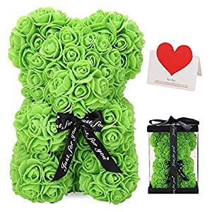LINKLO Rose Bear Rose Teddy Bear -10 inch Artificial Rose Flower Bear, Gift for Valentines Day, Wedding, Mothers Day and Anniversary, Including Transparent Gift Box (Green)
