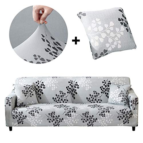 Bikuer Elastischer Sofabezug 3 Sitzer,Stretch Friheten Sofa-Überwürfe Mode Beliebt Klassisch Muster Spandex Sofabezug Für 1 Kostenloser Kissenbezug