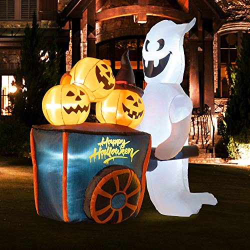 Rocinha Halloween Inflatable Ghost Pushing Pumpkin Cart, Halloween Blow Up Yard Decoration with Build-in LEDs for Lawn Decorations and Outdoor Halloween Decorations