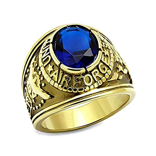 US Air Force Ring - (Gold Plated w/Blue Stone) USAF Military Rings Jewelry - Officers Military Gear or U.S. Airforce Uniform Veteran Ring (Size 10)